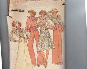 1970s Vintage Sewing Pattern Butterick 4099 Young Designer Jane Tise Blouse Skirt Wide Leg Pants Top Size 8 Bust 31 1/2 Waist 24 70s