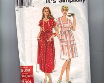 1990s Vintage Misses Sewing Pattern Simplicity 7173 Misses Easy Dress Size 6 8 10 12 14 16 18 20 22 24 UNCUT