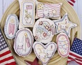 Patriotic spirit Ornaments embroidery Pattern - PDF stitchery independence day primitive ornies bowl fillers