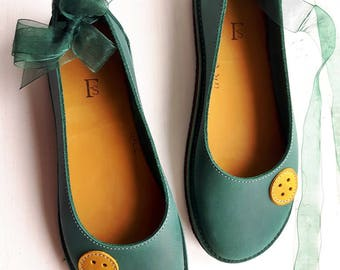 UK 5, Handmade womens Shoes, Leather Fairytale shoe LUPY 3371 Mermaid