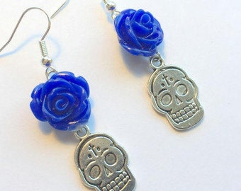 Sugar Skull Earrings Day of the Dead Blue Rose Silver