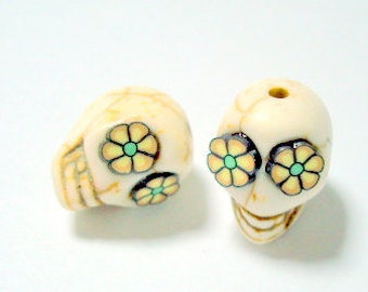Ivory, Black and Yellow Flower Eyes in Day of The Dead Sugar Skull Beads-12mm