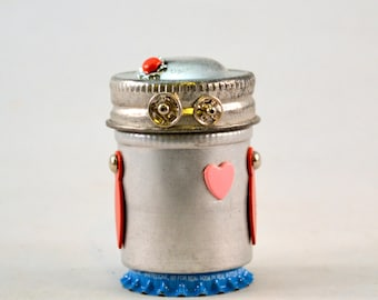 LOVE BOTS, Assemblage Art Recycled Robot Sculptures, Bitty Bots, You Are Loved