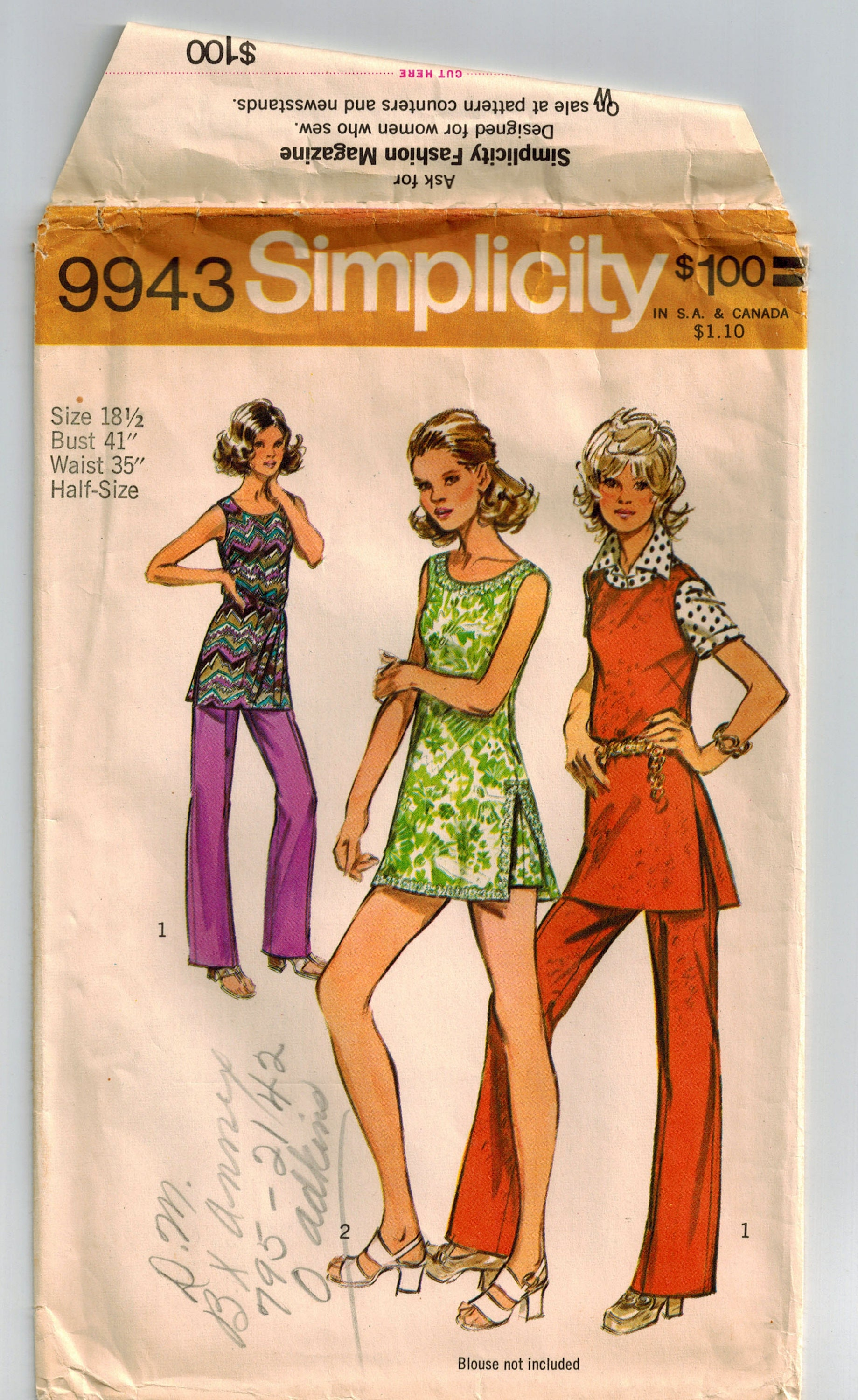 350344391d2 Vintage 70 s Misses Tunic Pants Shorts Sewing Pattern Bust 41 Back Zipper  Sleeveless Low Round Neckline Side Slits Self Fabric Tie Belt from ...