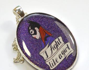 Batgirl of Burnside Feminist Geek Chic Portrait Pendant