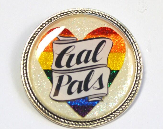 Rainbow Heart Gal Pals Lesbian LGBT+ Pride Queer Glitter Resin Brooch