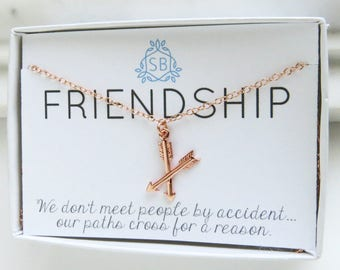 Best Friend Gift • Crossed Arrow Necklace • BFF Gift • Friendship Jewelry • Rose Gold Arrows  Best Friend Jewelry • Gift for Bestie