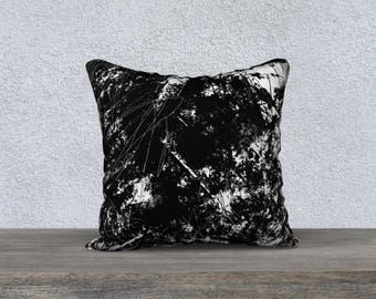 Modern abstract Black and White Scratch Grunge Throw Pillow Cover