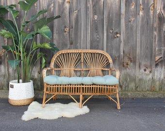 Franco Albini Italian Modern Scoop Rattan Bamboo Loveseat Couch