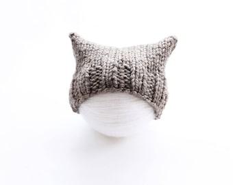 Brown cat hat, chunky cat hat, knit pussyhat, brown, pussyhat, chunky baby hat, baby hat, newborn hat, cat ear hat, pussyhat project