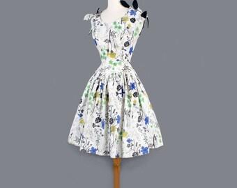 1950's  Floral Fit & Flare Style Vintage Dress with Shoulder Bows
