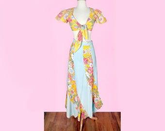 1960's Denim Long Hippie Maxi Skirt & Matching Top