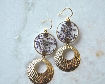 Purple Queen Annes Lace Earrings, Pressed Flower Jewelry, Botanical Jewelry