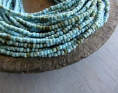 Mini seed glass beads Blue Rustic  Matte and glossy Organic shape-  Indonesia  1 to 2 mm  x 2.5mm ( 44 inches  strand ) 7ab30-1