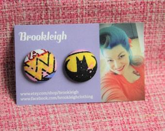 Superhero Marvel 23mm Button Earrings, Hypoallergenic, Retro/ Vintage styled