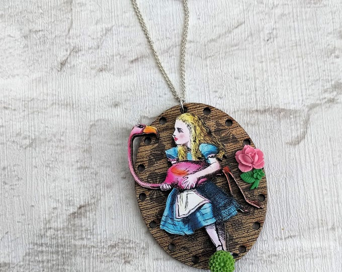 Alice in Wonderland Necklace, Alice Flamingo Necklace, Tenniel Illustration, Statement Necklace, Altered Art, Mixed Media