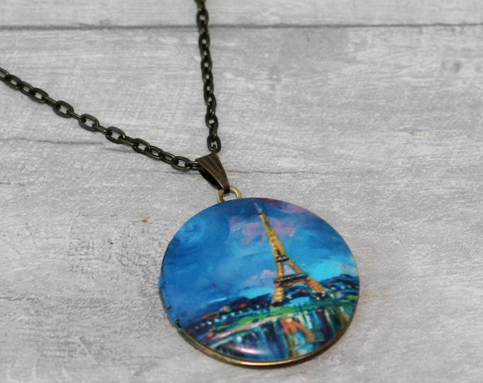 Paris Locket, Eiffel Tower Necklace, Paris Illustration Pendant