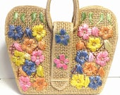 RESERVE for K DS: Vintage Straw Handbag with Pastel Flowers/ Woven Floral Bag, Beach Tote