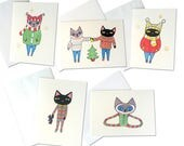 Set of 5 Cat Christmas Cards | Cats and Christmas Trees | Cats in Sweaters | Christmas Sweaters | Christmas Cats | Cute Christmas Cards