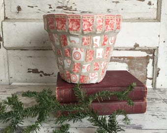Broken China Mosaic Flower Pot - 8 Inch Coral and White Porcelain