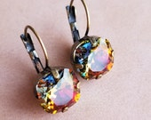 """Crystal vintage styled earrings with volcano colored cushion cut swarovski crystal. """"Mordor earrings."""""""