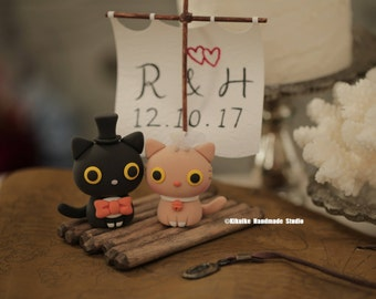 cat and  kitty Wedding Cake Topper---k809