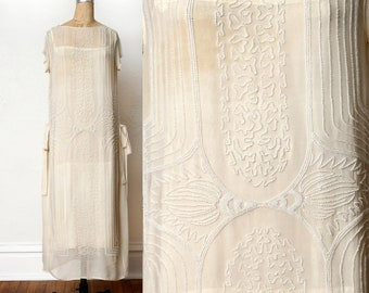 AMAZING 1920s Silk Beaded Gown Wedding Dress