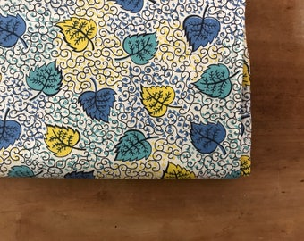 vintage 50s Scrolls & Leaves Leaf Novelty Print Cotton Quilting Crafting Fabric Over 2.5 Yards