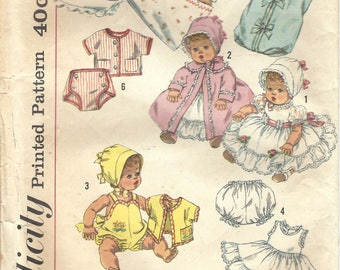 1960s Simplicity 3218 Vintage Sewing Pattern Doll Wardrobe, Doll Clothes, Size 20 Inch Baby Doll