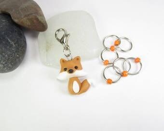 Fox progress keepers, Fox stitch markers, knitting accessories, cute fox charm, cute animal charm, polymer clay, snag free, kawaii charm