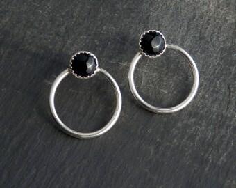 Onyx earrings / black onyx earrings / hoop earrings / onyx jewelry / modern earrings / simple earrings / black onyx / ready to ship / gift