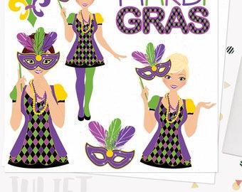 Mardi gras woman character clipart, party girl clipart, carnival mask, fat tuesday celebration, blonde, brunette, auburn hair (Juliet L333)