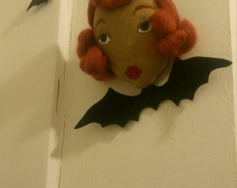 Gertrude - A Vampire Bat Bow - Perfect For Halloween - Doll Face Wall Hanging