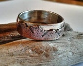 Mountain Wedding Band - Sterling and Copper - Single Band -  Unisex - Mens or Ladies -  Nature Lover- Rustic- Organic - 6 mm wide