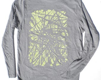 Unisex Long Sleeved TShirt - Subway Station Tracks in Grey