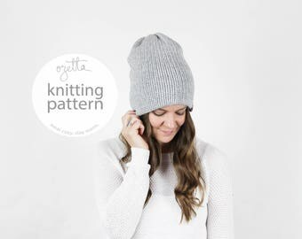 Knitting Pattern / Simple Knit Hat  / The CAMPFIRE BEANIE / PDF