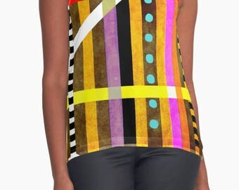 Contrast Tank - Lines Geometric Art Polka dots touch