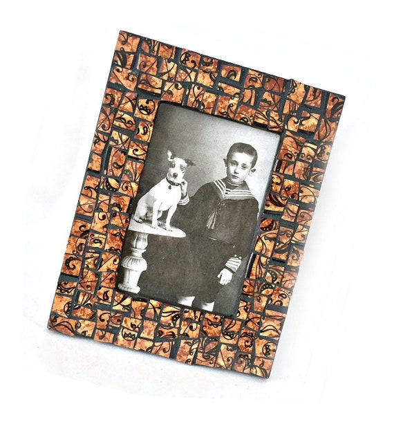 Brown Black Mosaic Photo Frame, Brown Black Filigree Mosaic Frame, 4 x 6 Photo Mosaic Frame, 4 x 6 Brown Black Print Mosaic Picture Frame