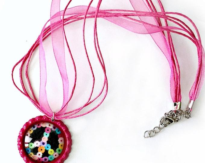 PEACE Sign Ribbon Necklace, Bottle Cap Hot Pink Ribbon Necklace with Organza Ribbon, Floral Hippie Peace Sign Pink Ribbon Choker Necklace