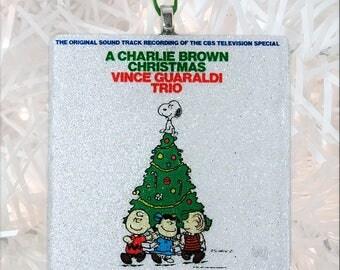 A Charlie Brown Christmas Album Cover Glass Ornament