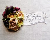 Plum Burgundy Lemongrass Tea Petunias Handmade Roses Vintage style Millinery flower corsage