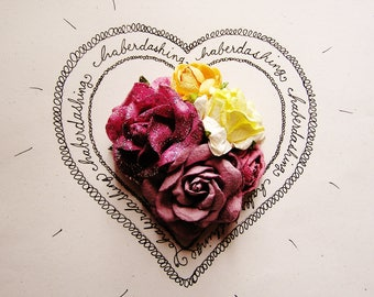 Sugar Plum Buttercream yellow glittered Handmade Roses Vintage style Millinery flower corsage
