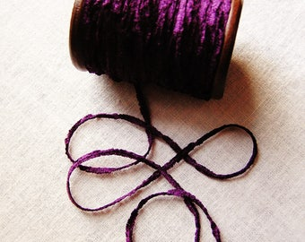 Violet purple rayon Chenille Ribbon on a Hand painted espresso wooden spool