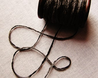 Graphite Grey rayon Chenille Ribbon on a Hand painted espresso wooden spool