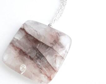 Blush Pink Necklace, Rose Quartz Jewelry, Natural Stone Pendant