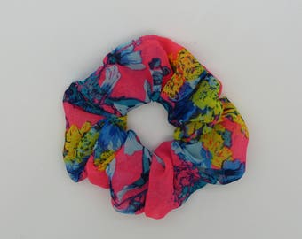 Hair Scrunchie. Bright pink floral chiffon hair scrunchie.