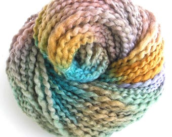 Handspun Yarn Soft BFL Wool Silk Yarn Hand Dyed Yarn Bulky Yarn Art Yarn 126 yards - Pastel Ice