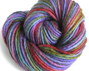 Bulky Yarn Hand Dyed Yarn Bulky Wool Yarn Single Ply Variegated - Berry Patch
