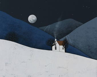 "Moon Rise 2 - Original 12x12"" Contemporary Night Landscape Painting on Canvas - Winter Art - by Natasha Newton"