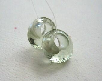 Prasiolite Green Amethyst Faceted Hoop Beads 11.5mm - Matched Gemstone Pair